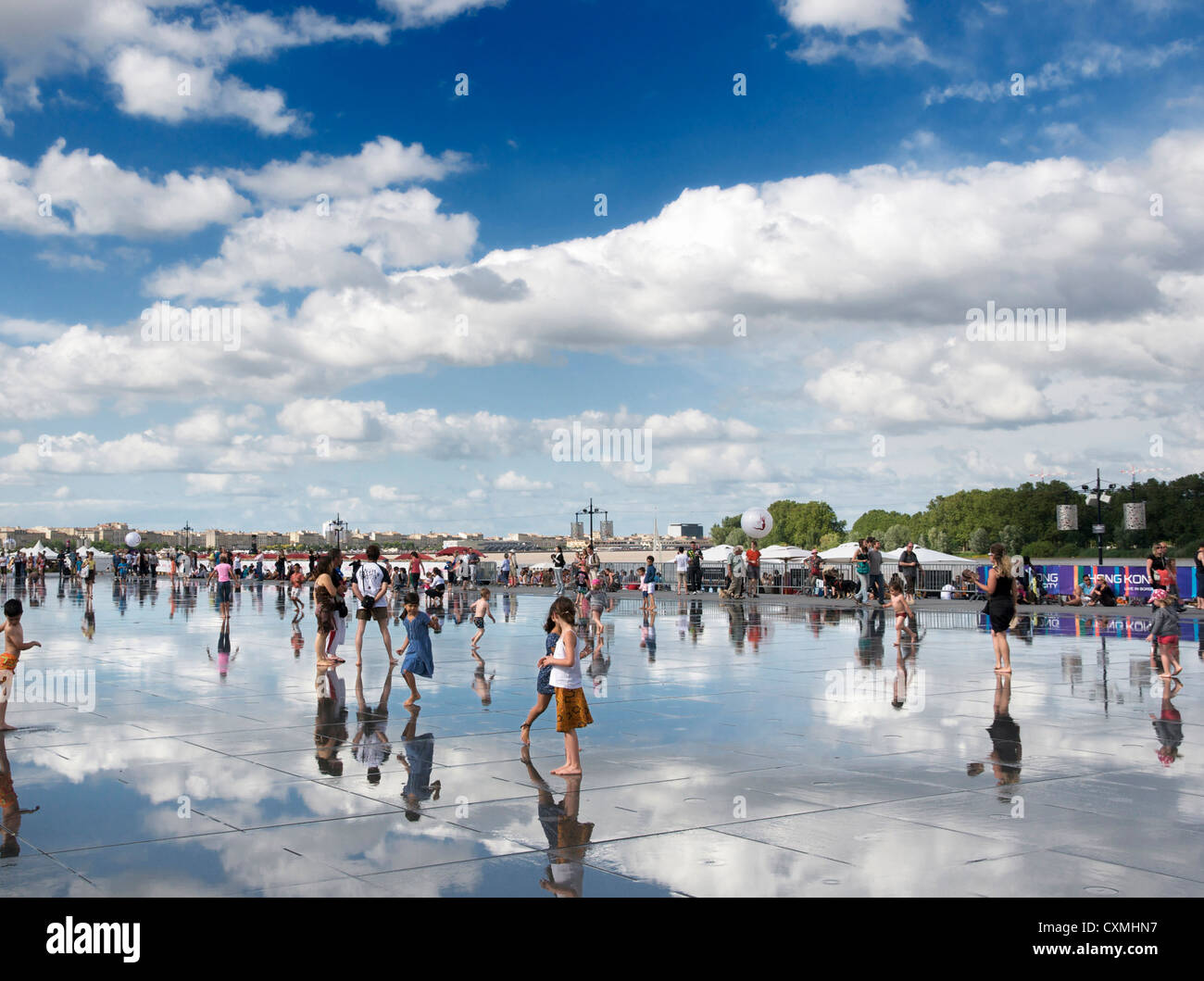Bordeaux, France - The Water mirror in front of the Stock Exchange Square - Stock Image