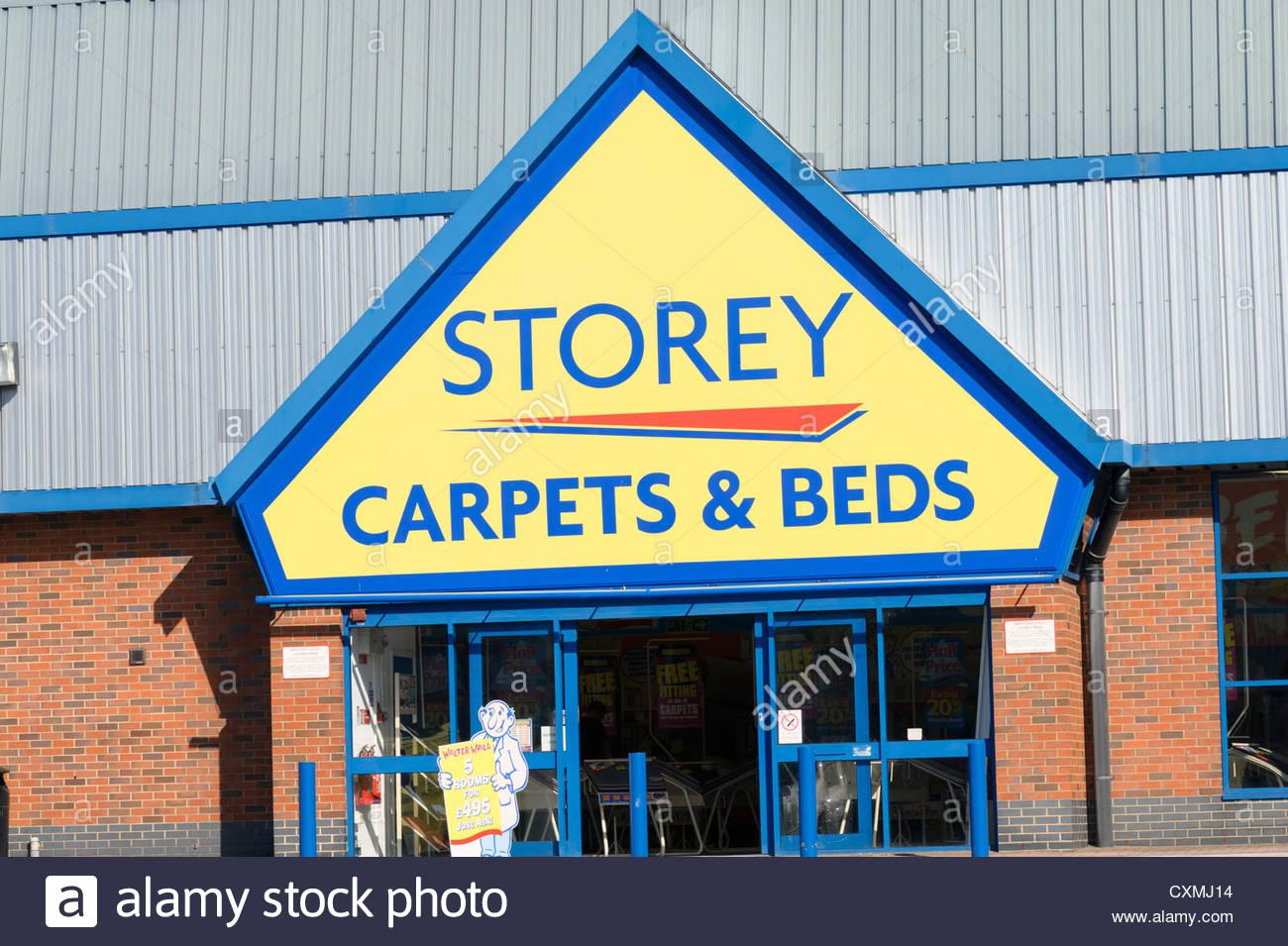 Storey carpets & beds store in Cheltenham, UK. - Stock Image