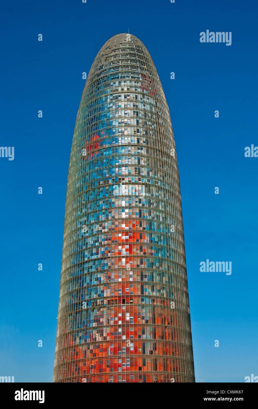 Barcelona's Akbar Tower by Jean Nouvel houses Aguas de Barcelona, the municipal water company headquarters - Stock Image