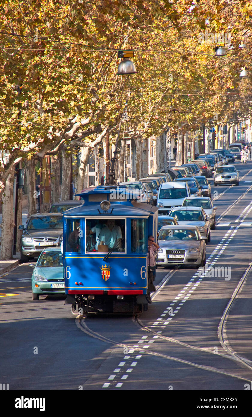 Barcelona's Blue Trolley (Tramvia Blau) on Tibidabo Avenue Heritage Line to the funicular station for Tibidabo - Stock Image