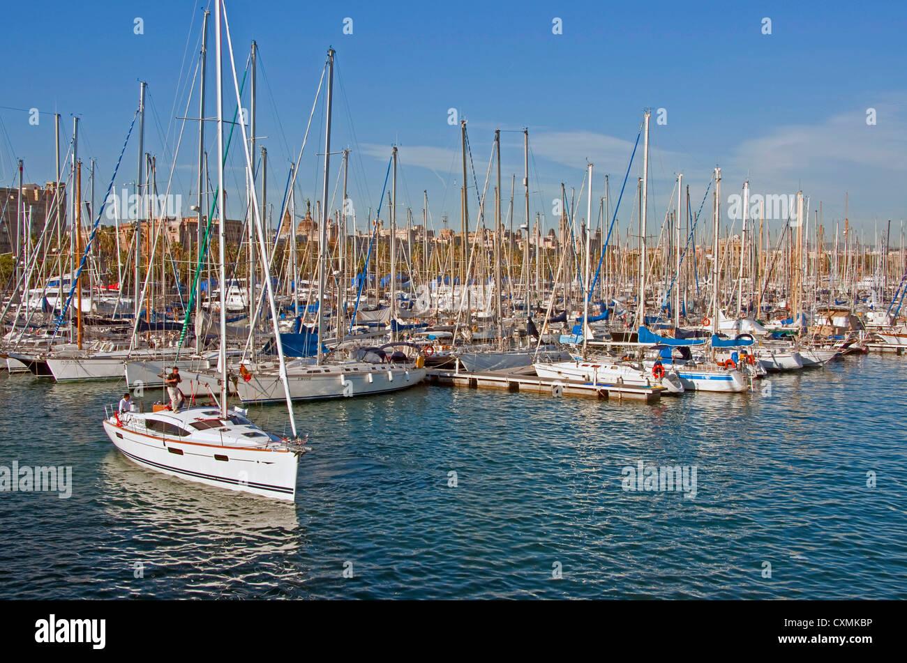 Barcelona's Darsena Nacional marina at Port Vell - Stock Image