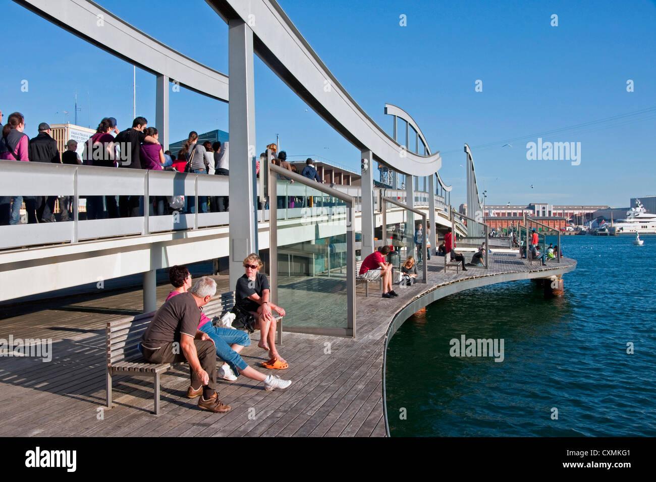 Rambla del Mar pedestrian bridge at Barcelona's Port Vell - Stock Image