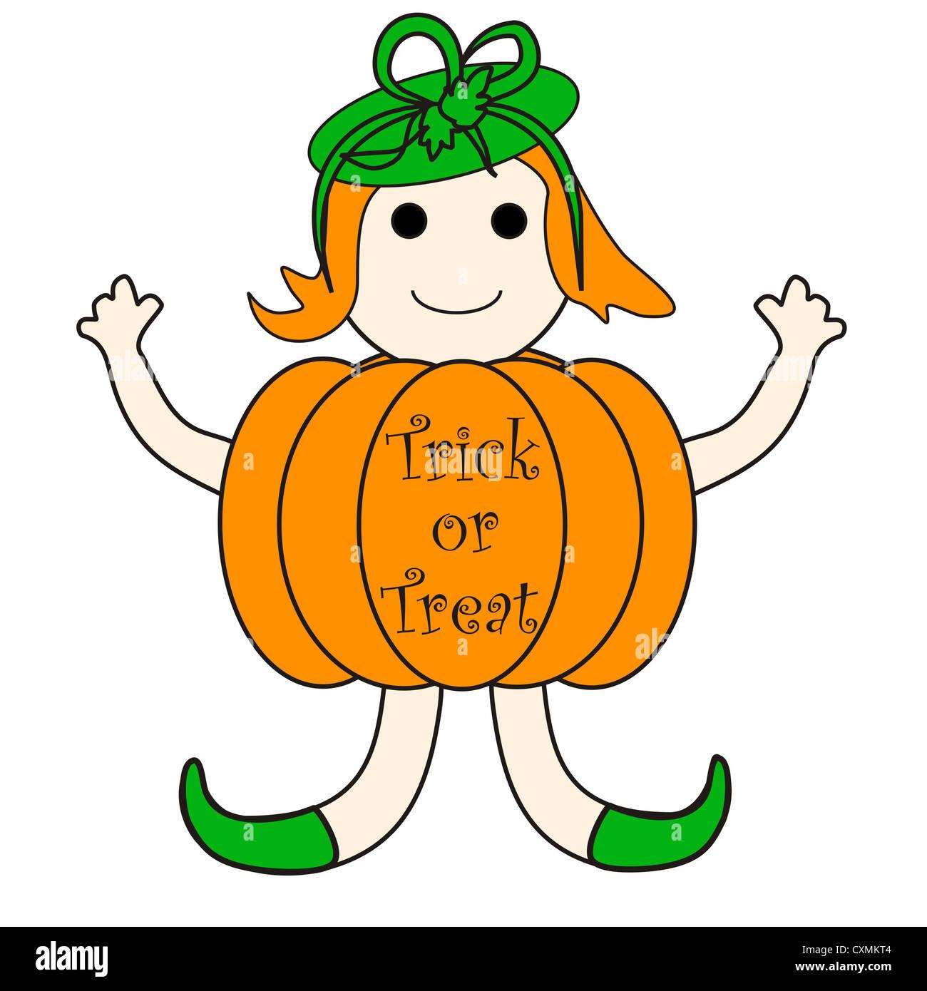 Pumpkin girl cartoon with Trick or Treat message Stock Photo