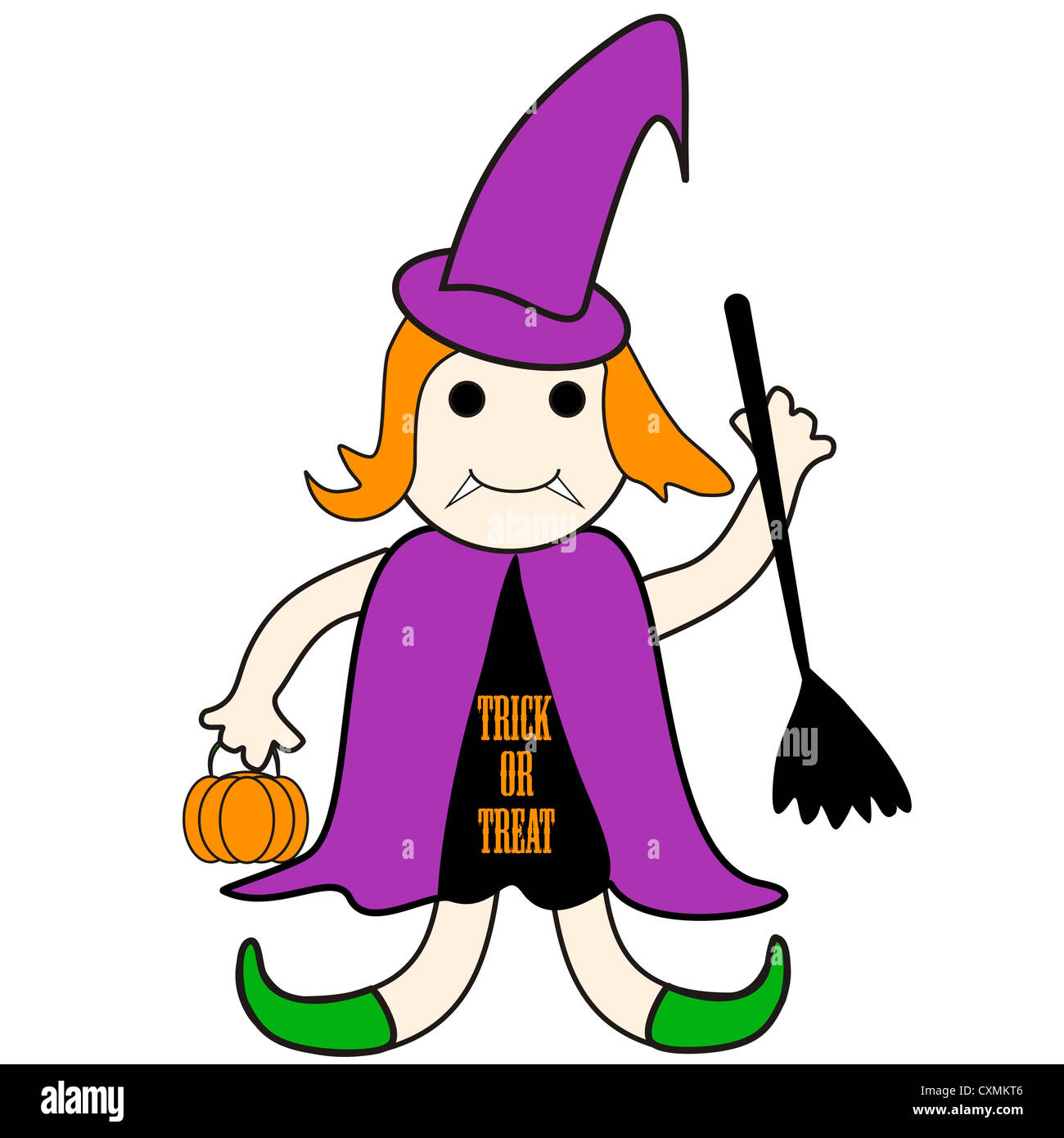 Witch cartoon with Trick or Treat message Stock Photo