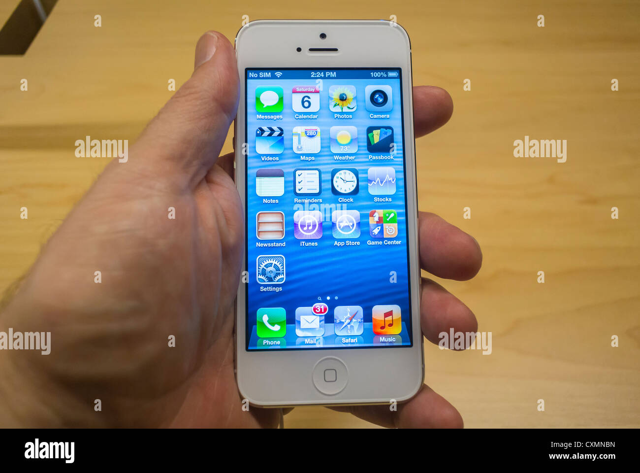 "New York, NY, USA, Apple Store, Man's Hand Holding a New ""Iphone 5"" Smart Phone, Manhattan Stock Photo"