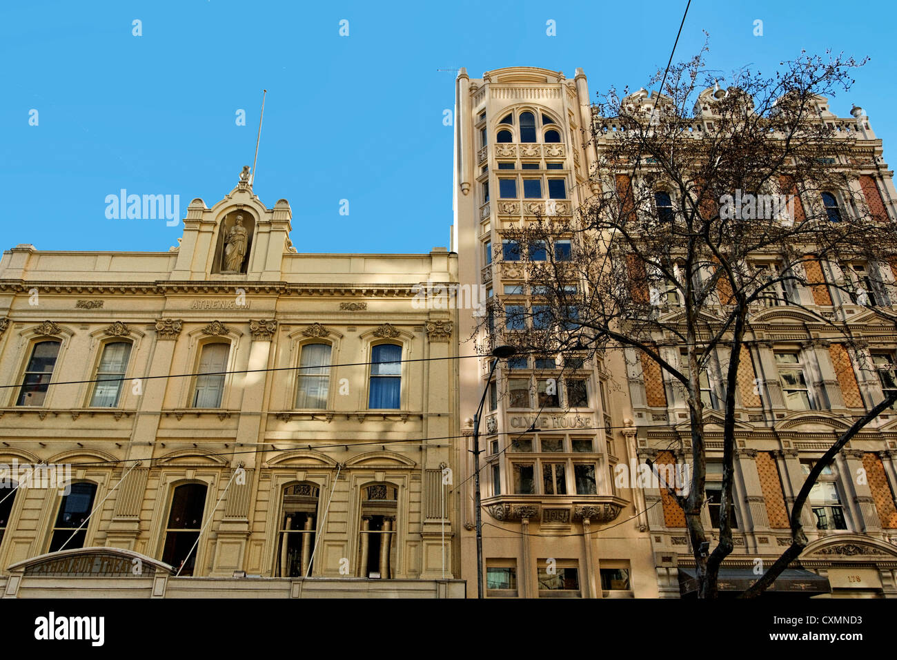 Heritage Neighbors: Melbourne Athenaeum, Clyde House & Pleasance House on Collins Street - Stock Image
