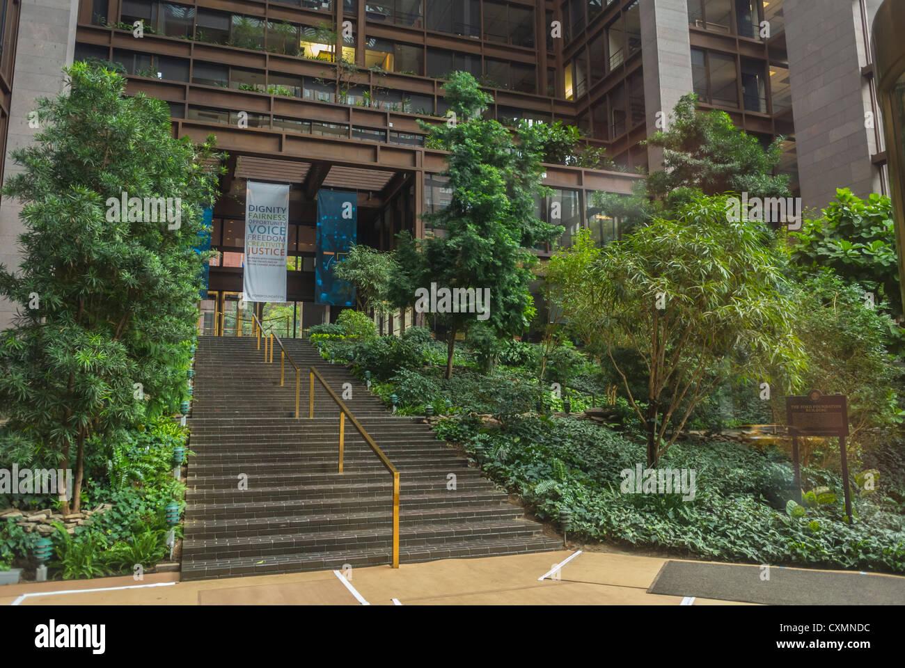 New york ny usa ford foundation building interior garden midtown manhattan