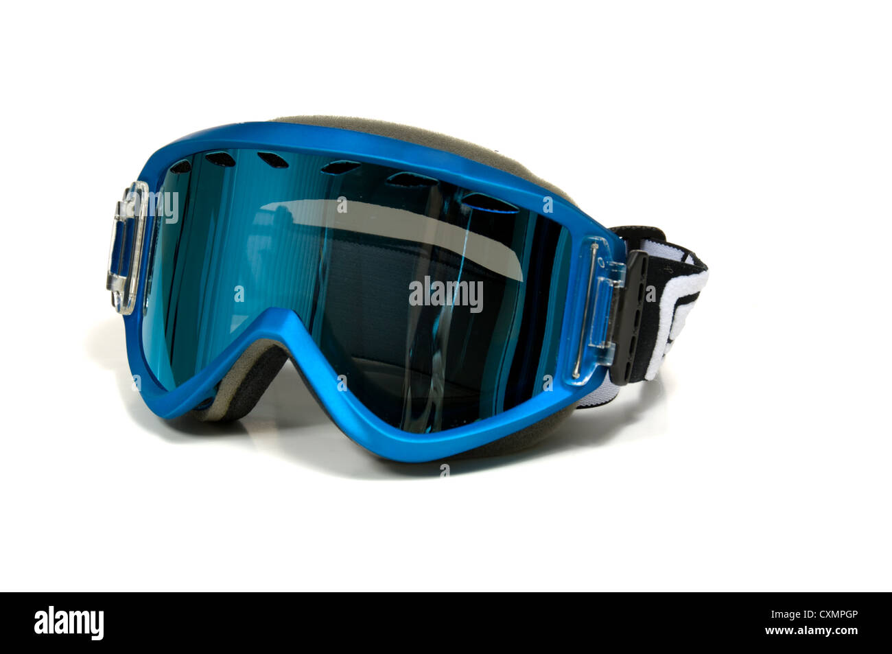 Snow Skiing goggles on white background with blue lenses and a blue frame - Stock Image