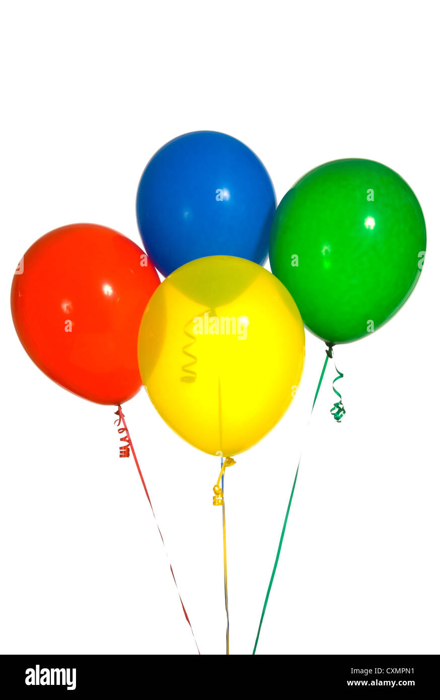 primary color balloons arranged in a bouquet for a birthday party or