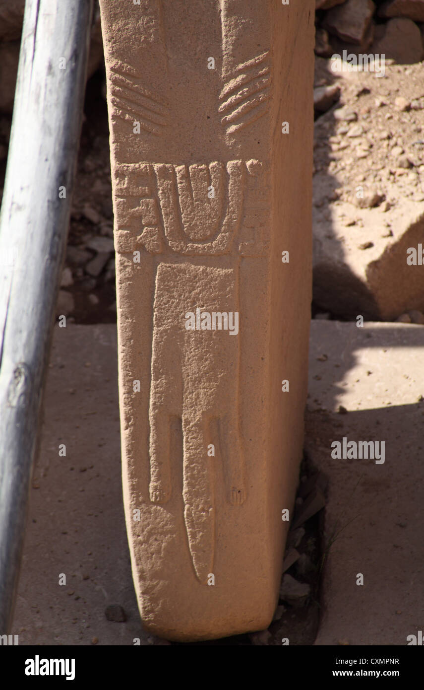 Stylised carving of reptile on stele at early neolithic Gobekli Tepe, Sanliurfa south east Turkey - Stock Image