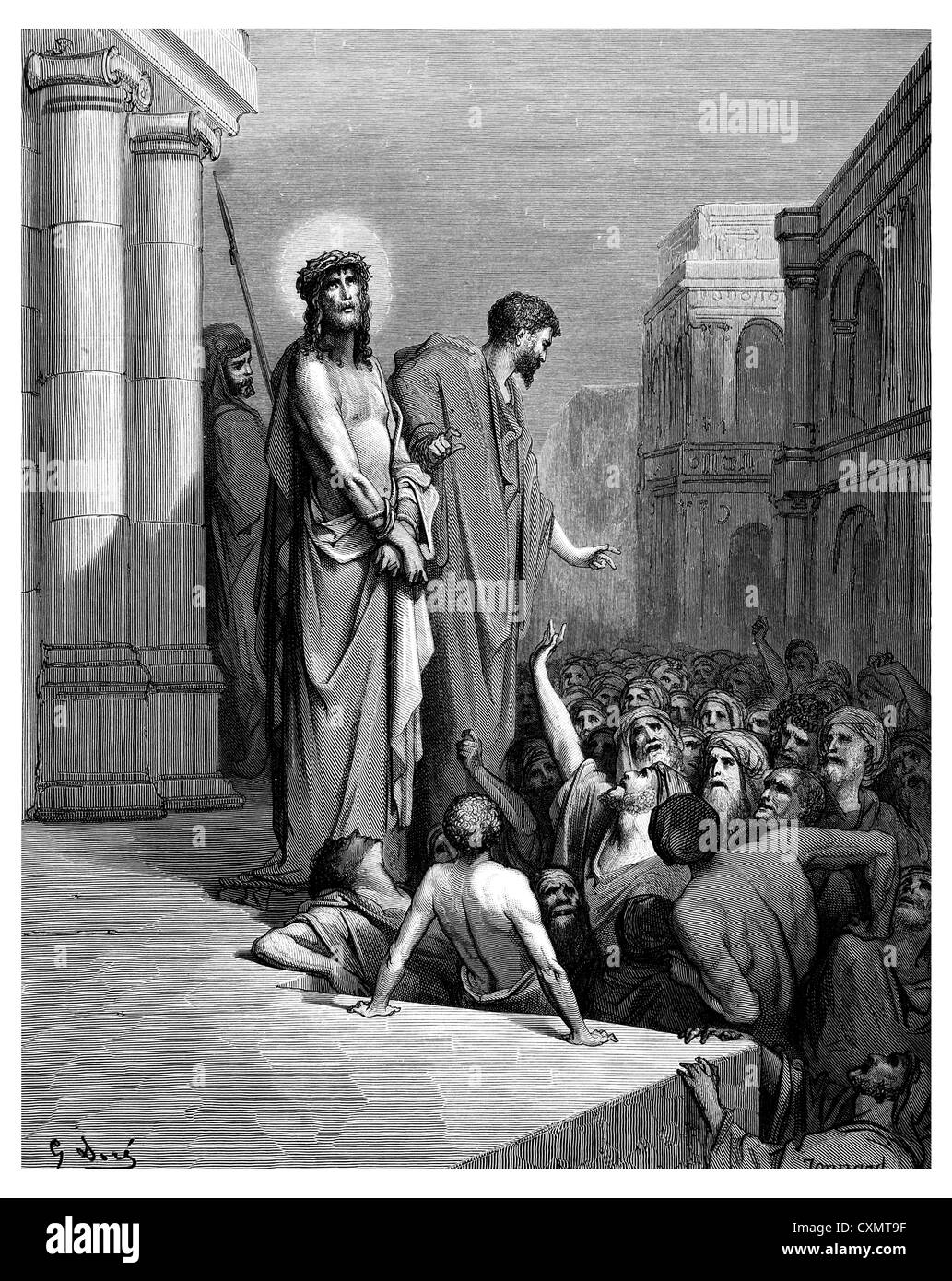 Jesus is shown to the people Stock Photo