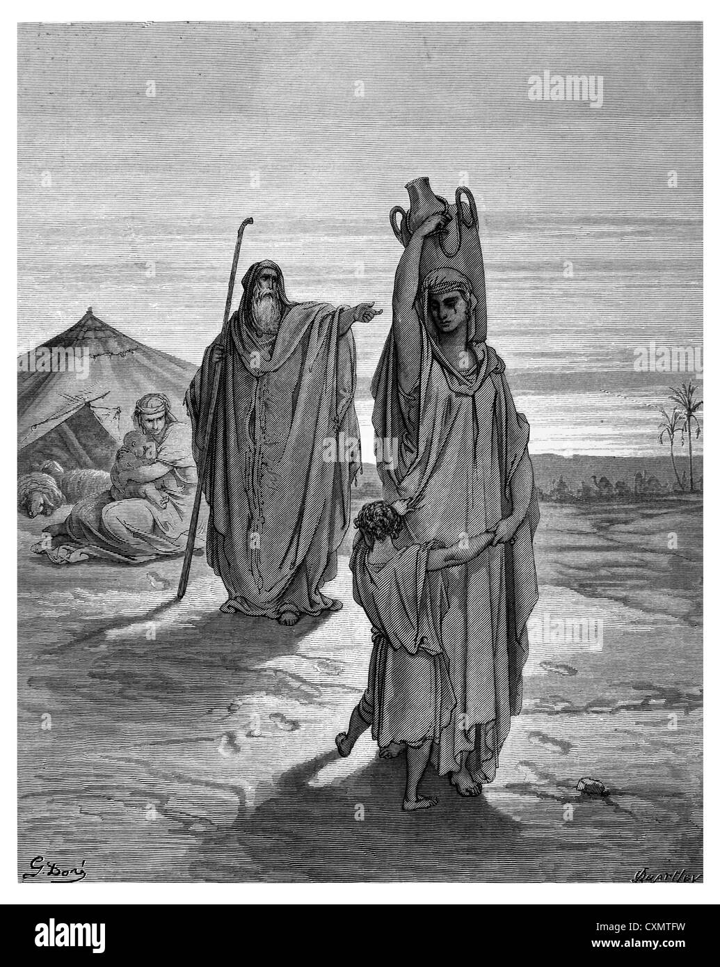 Expulsion of Ishmael and his mother - Stock Image