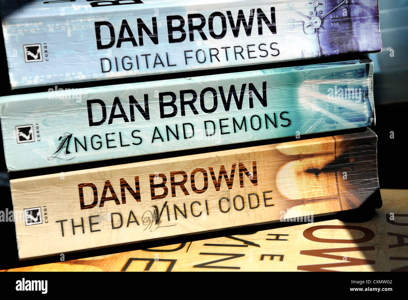 books written by the author Dan brown - Stock Image
