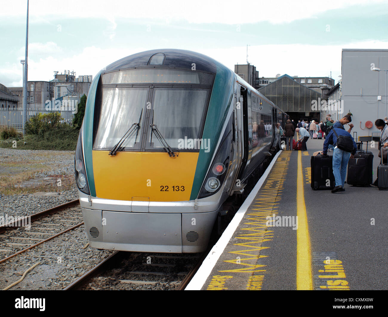 (Larnrod Eireann) Irish Rails 22000 class 'I.C.R.' diesel multiple Intercity railcars at Galway station - Stock Image