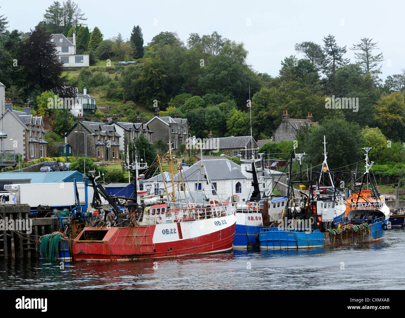 Fishing boats tied up at the harbour wall. Oban, Argyll, Scotland. UK - Stock Image
