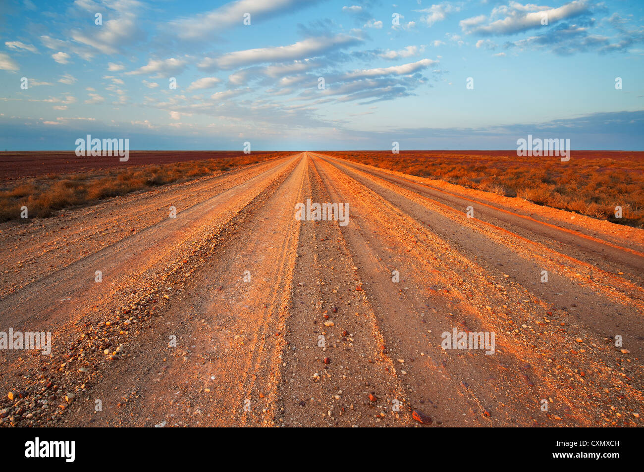 Vastness of Birdsville Track in the desert of South Australia. - Stock Image