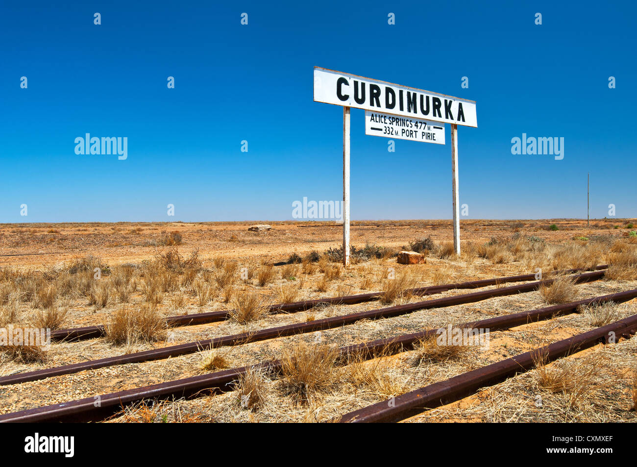 Sign of the former Old Ghan railway station Curdimurka. - Stock Image
