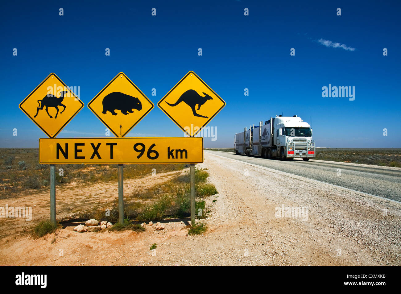 Wildlife raod sign at Eyre Highway. Stock Photo