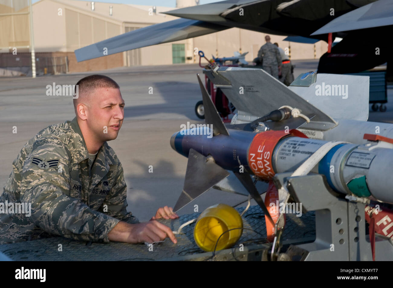 U.S. Air Force Senior Airman Lewis Hafner, 57th Aircraft Maintenance Squadron, Raptor Aircraft Maintenance Unit - Stock Image