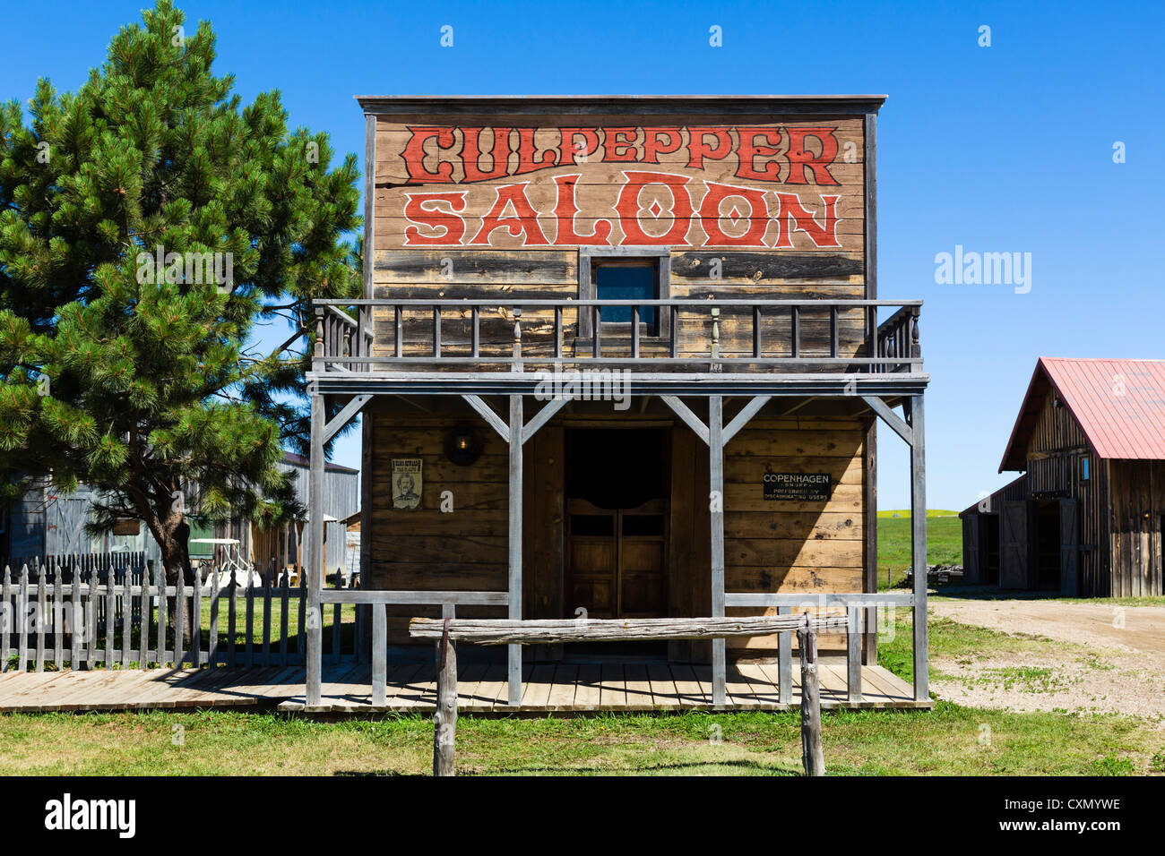 Saloon on Main Street in '1880 Town' western attraction in Murdo, South Dakota, USA - Stock Image