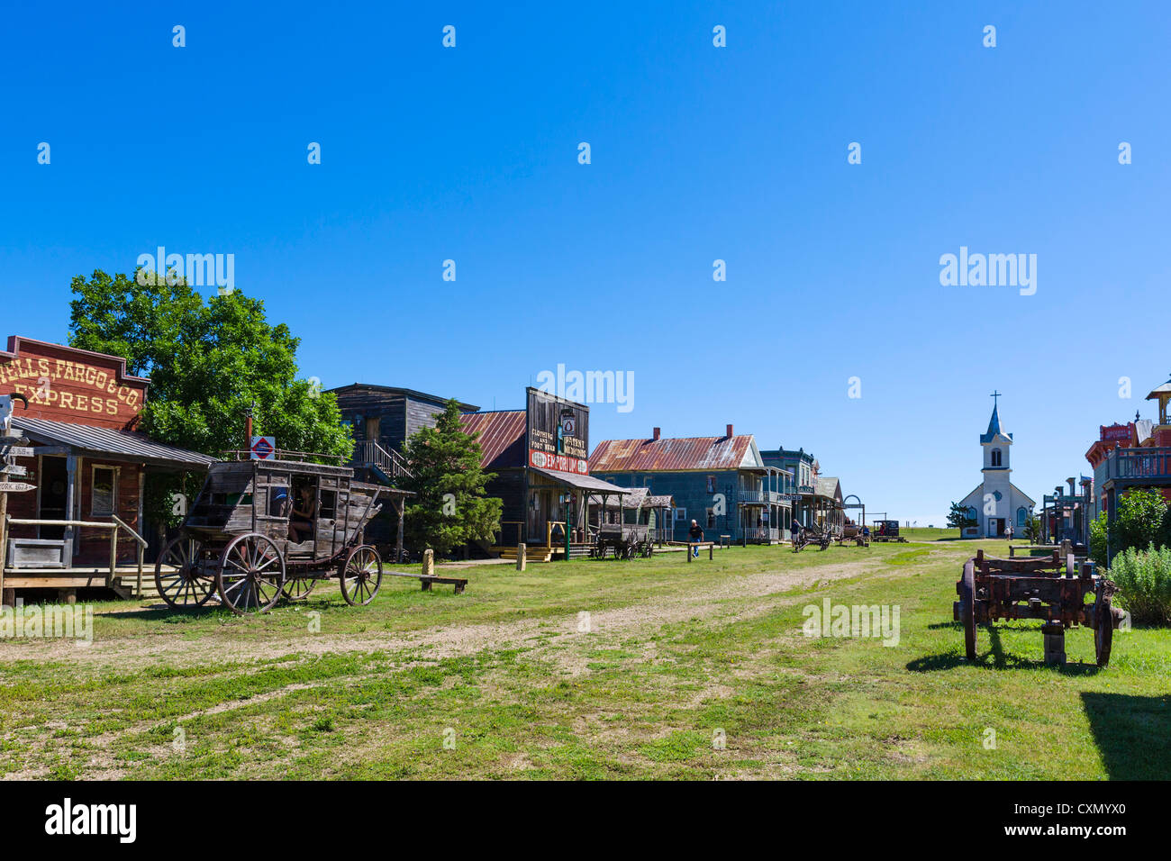 Main Street in '1880 Town' western attraction in Murdo, South Dakota, USA - Stock Image
