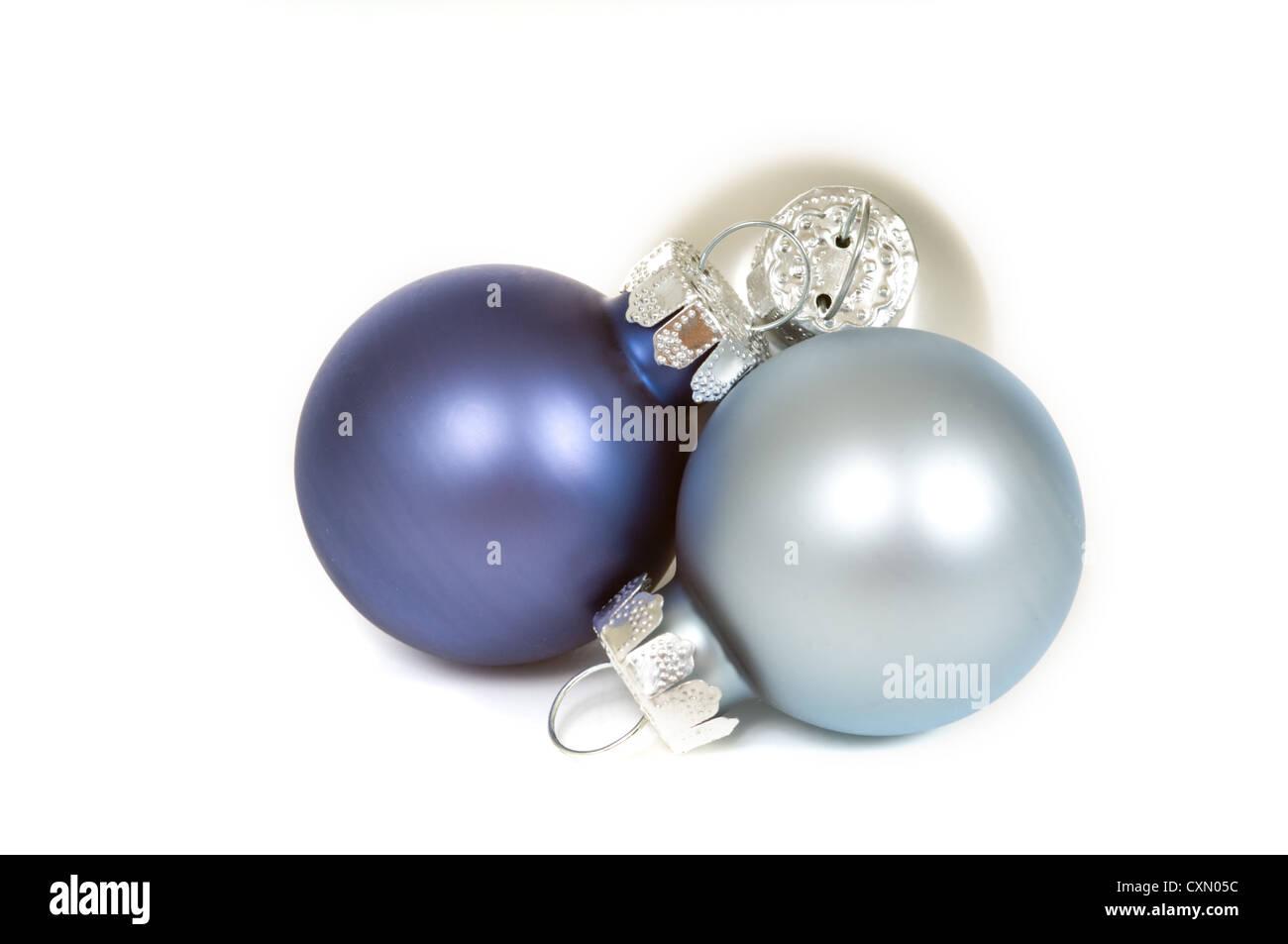 blue silver and white christmas balls on white background stock image - White Christmas Balls