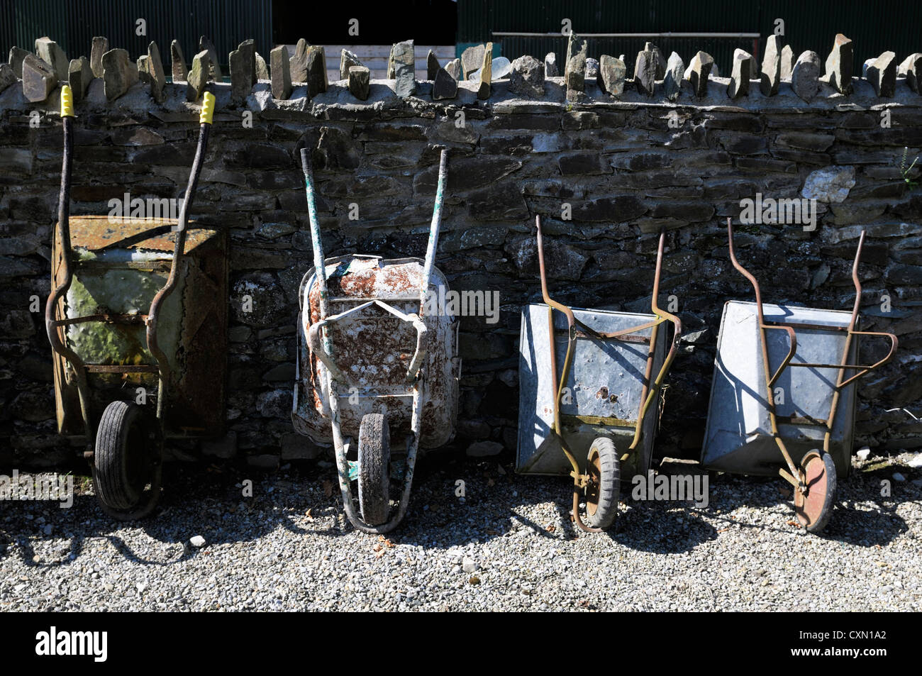 line of wheelbarrows stored upright outdoors against a wall garden gardening tool tools help assistance different - Stock Image