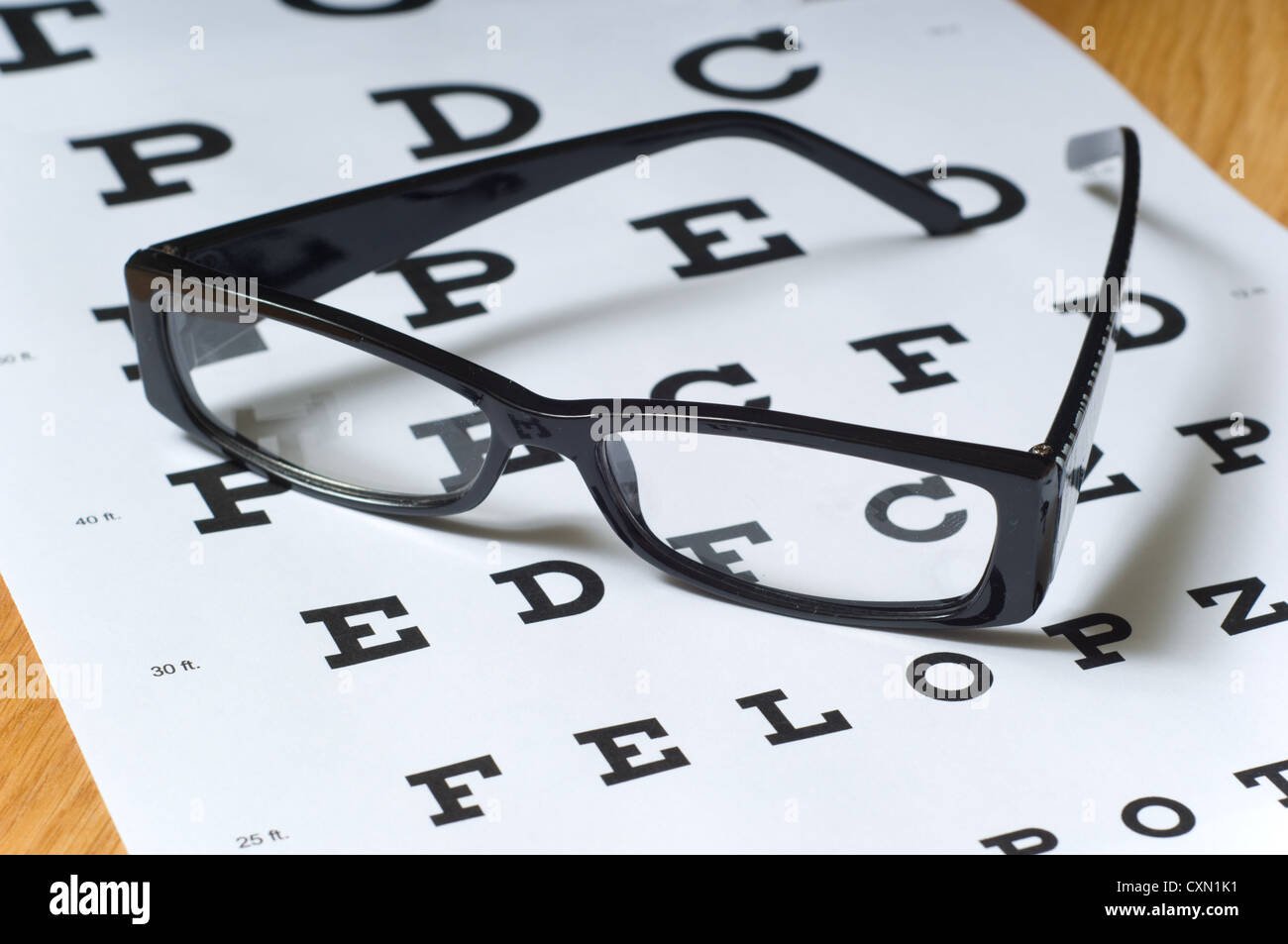 A Pair Of Black Reading Glasses Or Spectacles On An Snellen Eye