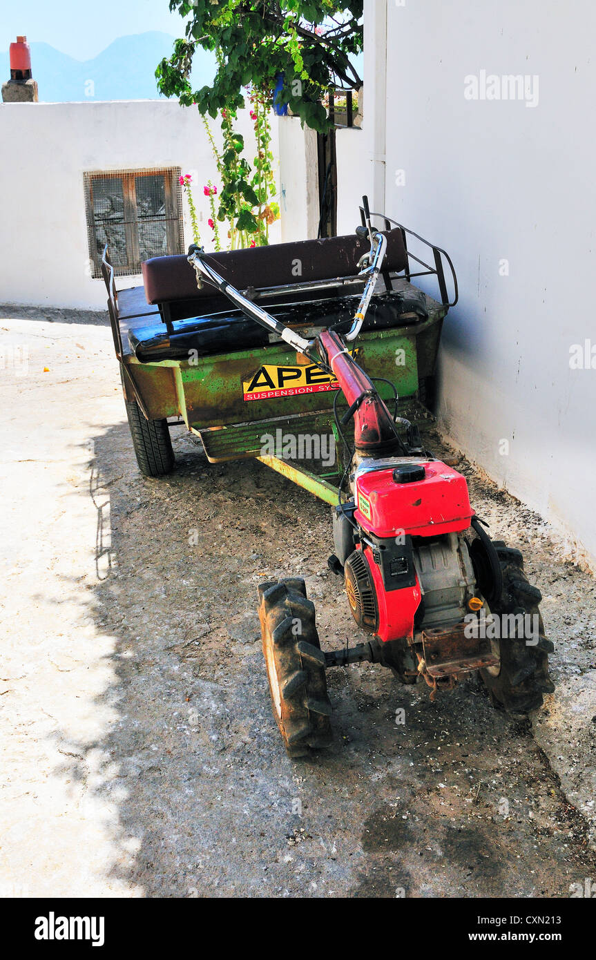Utility  tractor  for general use . seen in  a side street of the hill top village of Krousta . Crete - Stock Image