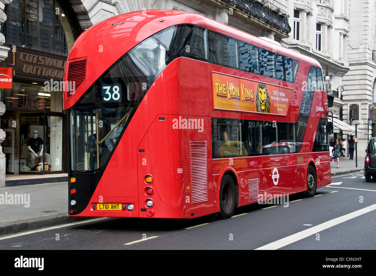 Rear view of new Routemaster London bus. Travelling east along Piccadilly , London W1. - Stock Image