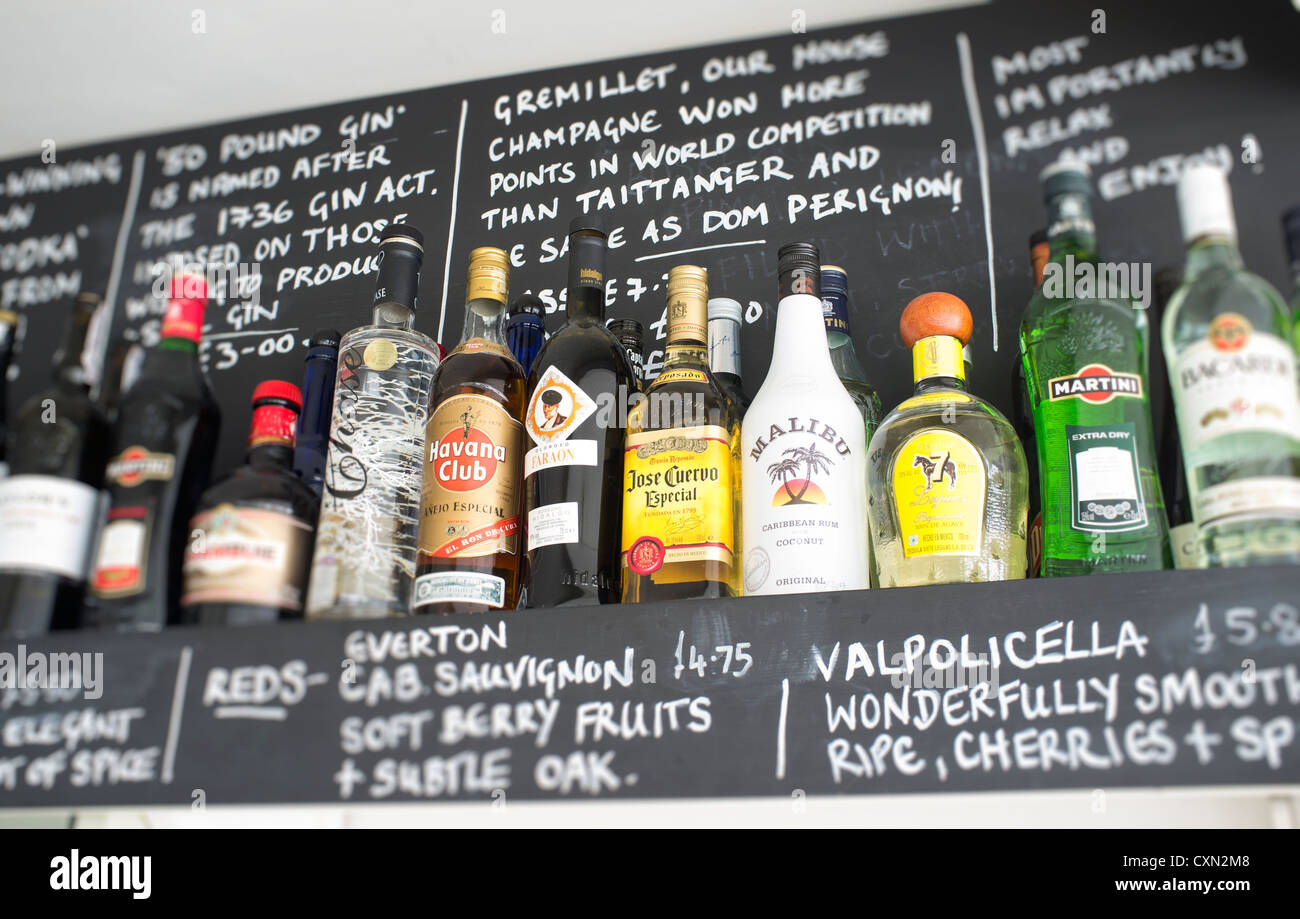 Spirits on 'top shelf' at hotel bar - Stock Image