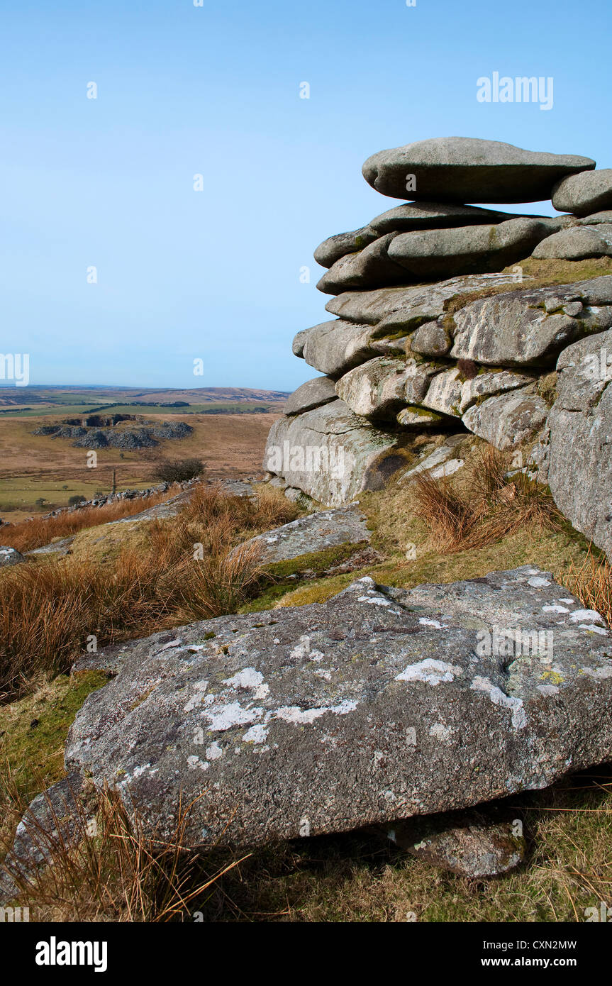The rugged landscape of Bodmin Moor in Cornwall, England, UK - Stock Image