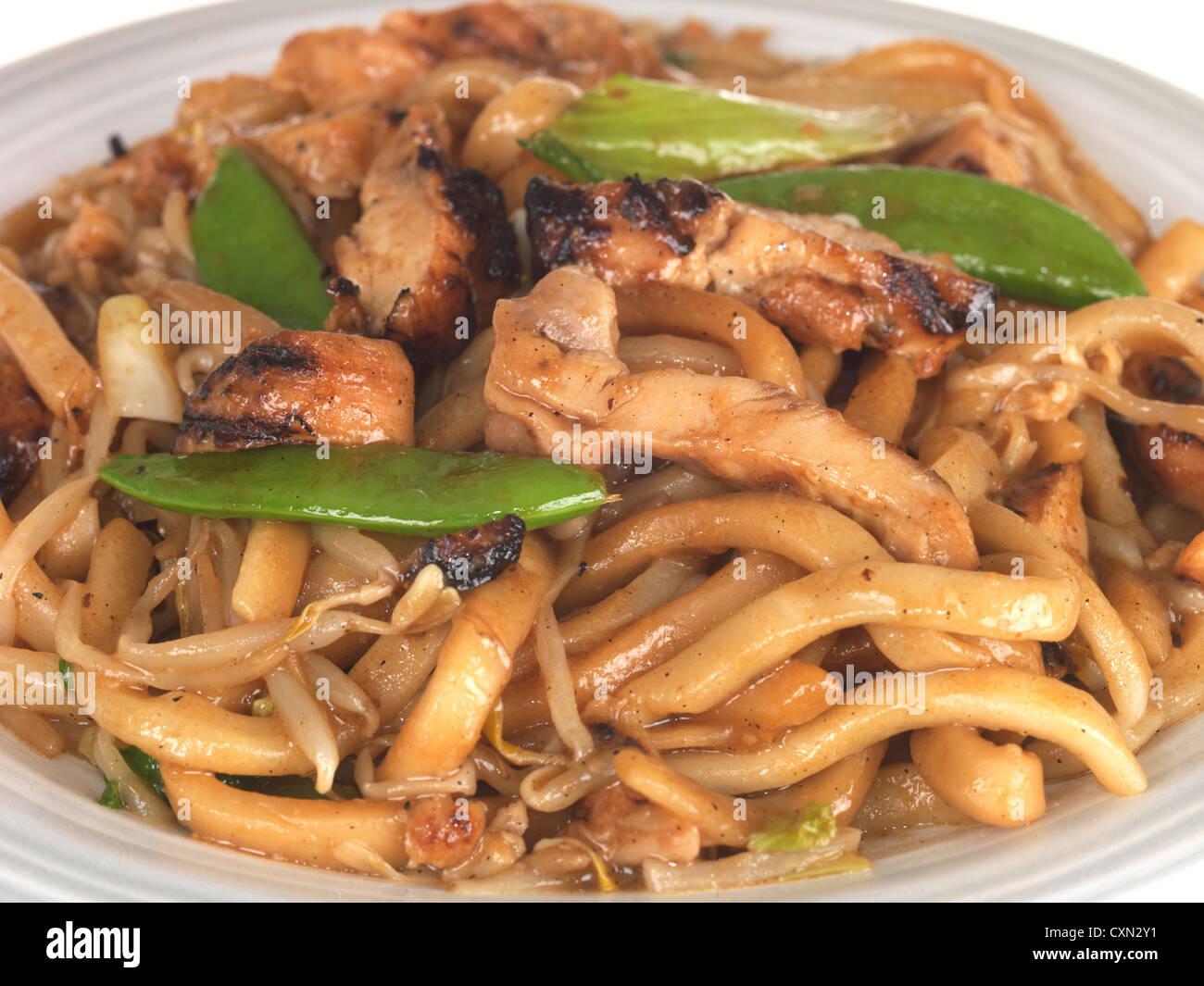 Miso Yaki Chicken Udon Noodles Stock Photo