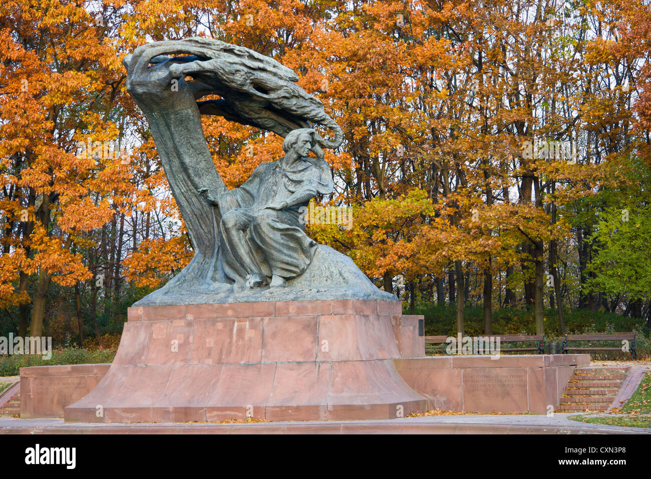 Fall In Lazienki Park With Monument Of Chopin Warsaw