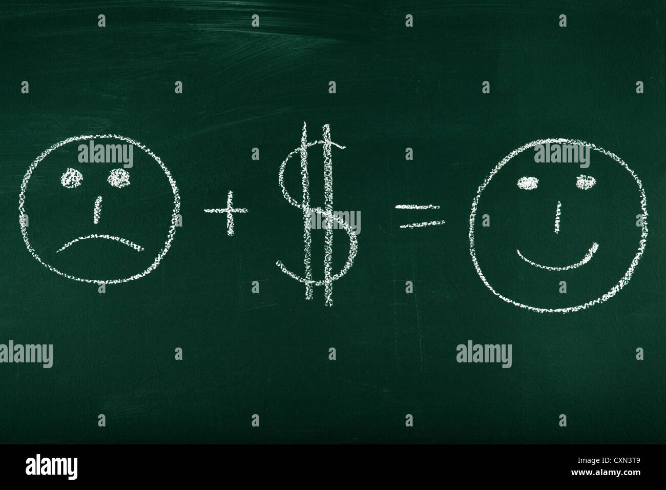 Money can change your life - concept illustrated on chalkboard - Stock Image