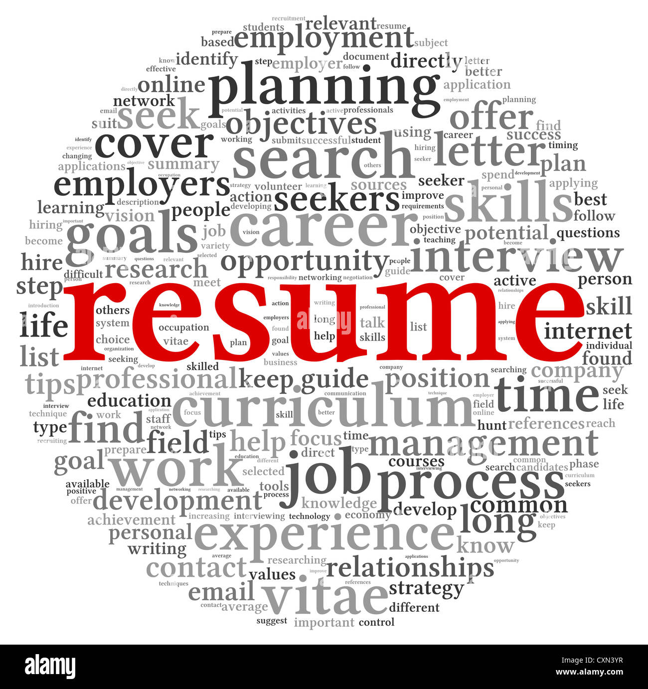 resume concept in word tag cloud on white background stock photo