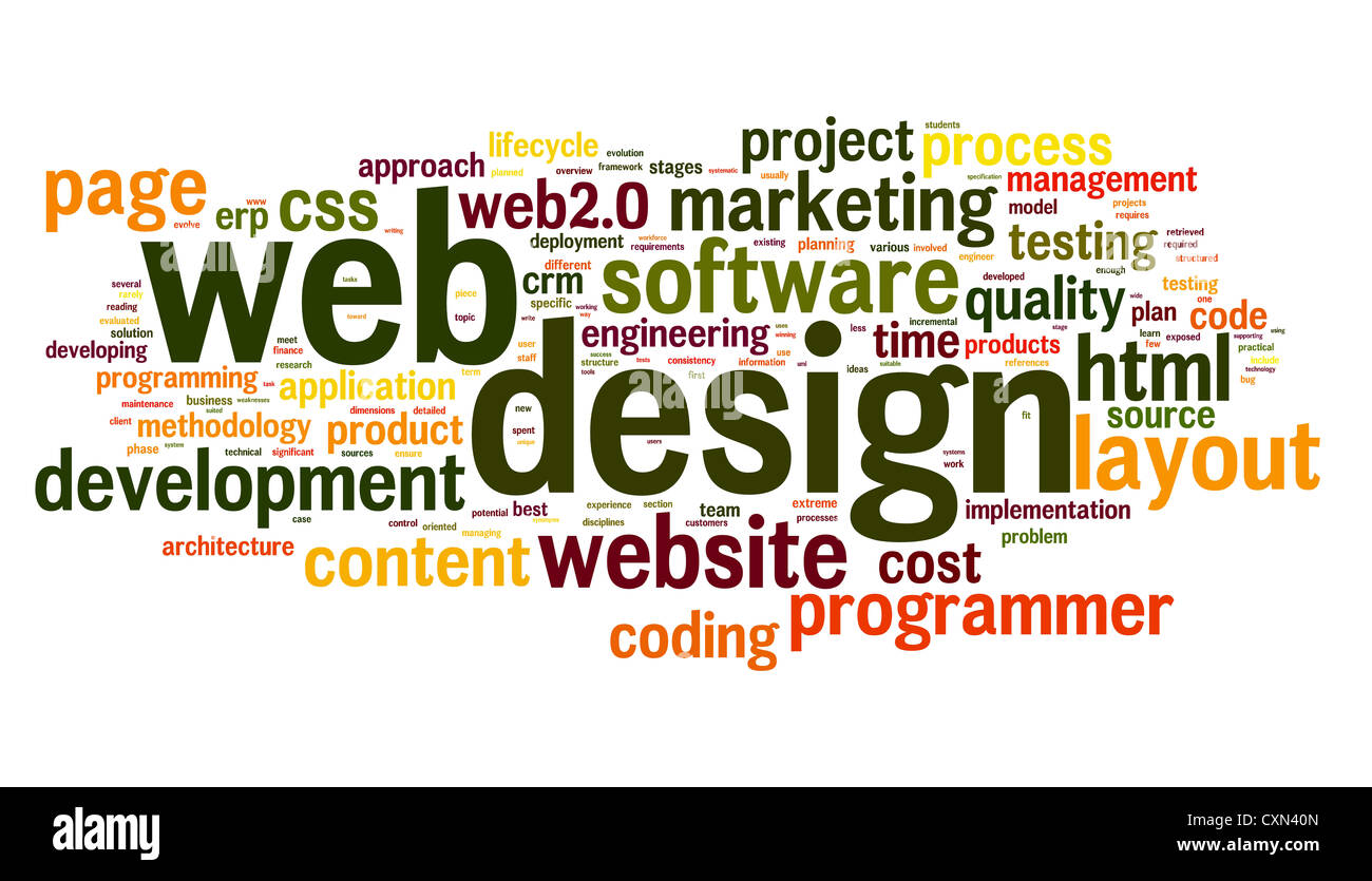 web design concept in word tag cloud on white background stock photo