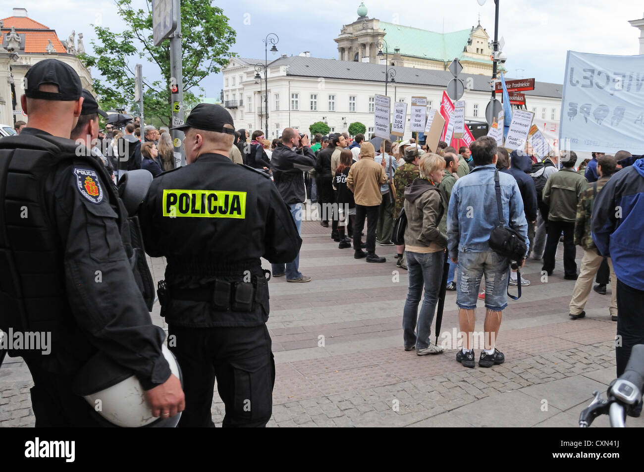 Riot police and protesters - Stock Image
