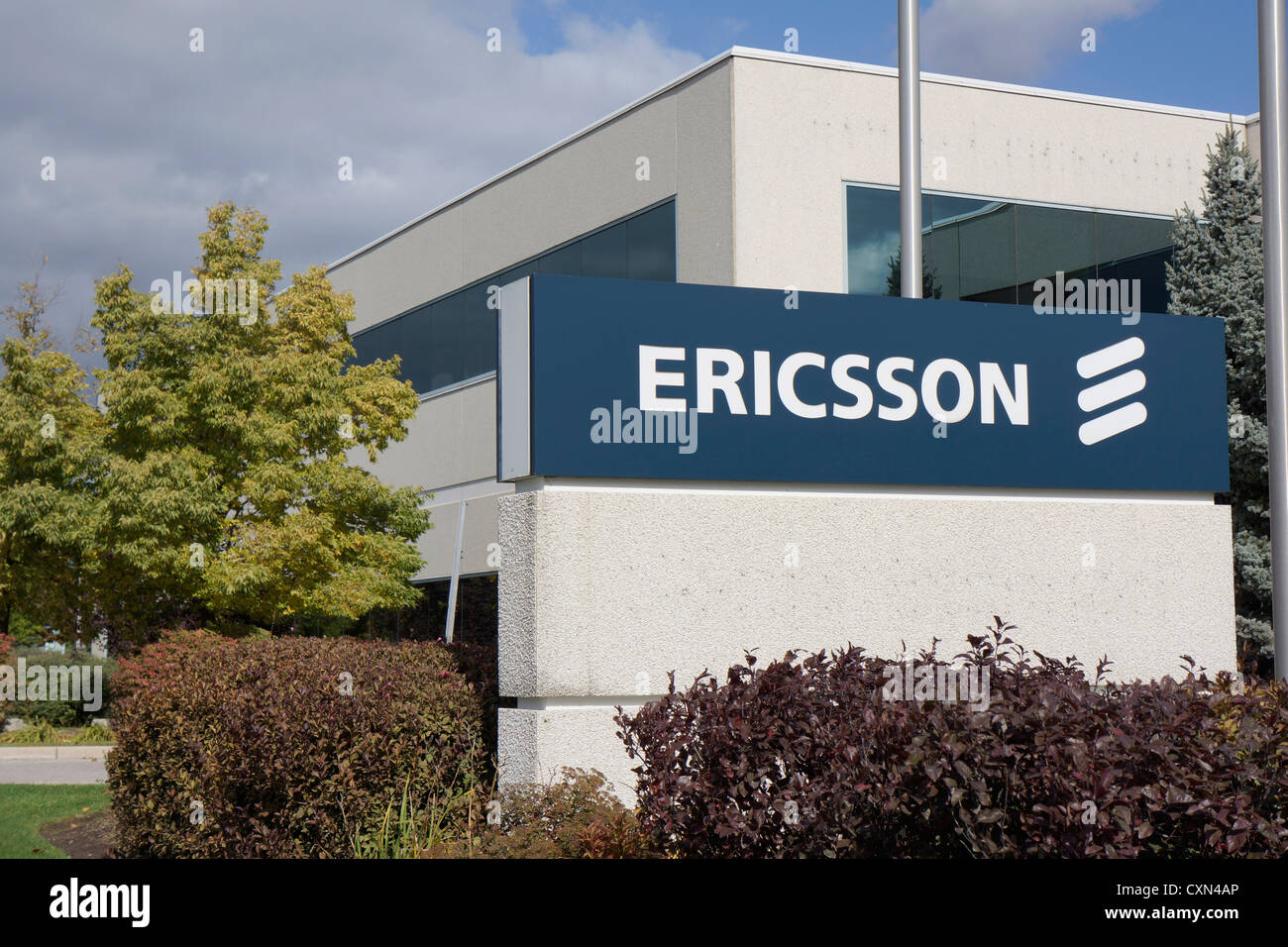 Ericsson, company sign outside office - Stock Image