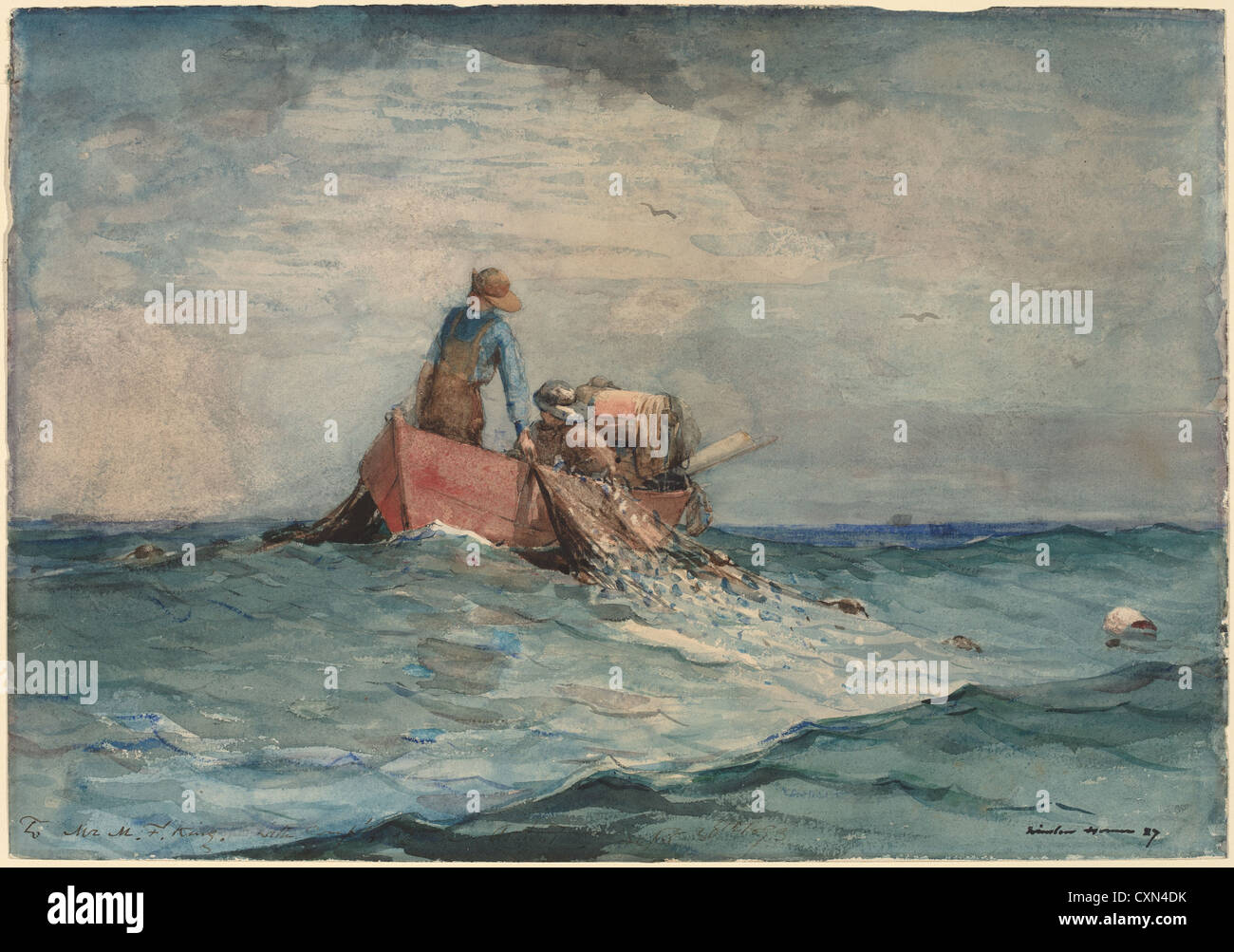 Winslow Homer, Hauling in the Nets, American, 1836 - 1910, 1887, watercolor over graphite - Stock Image