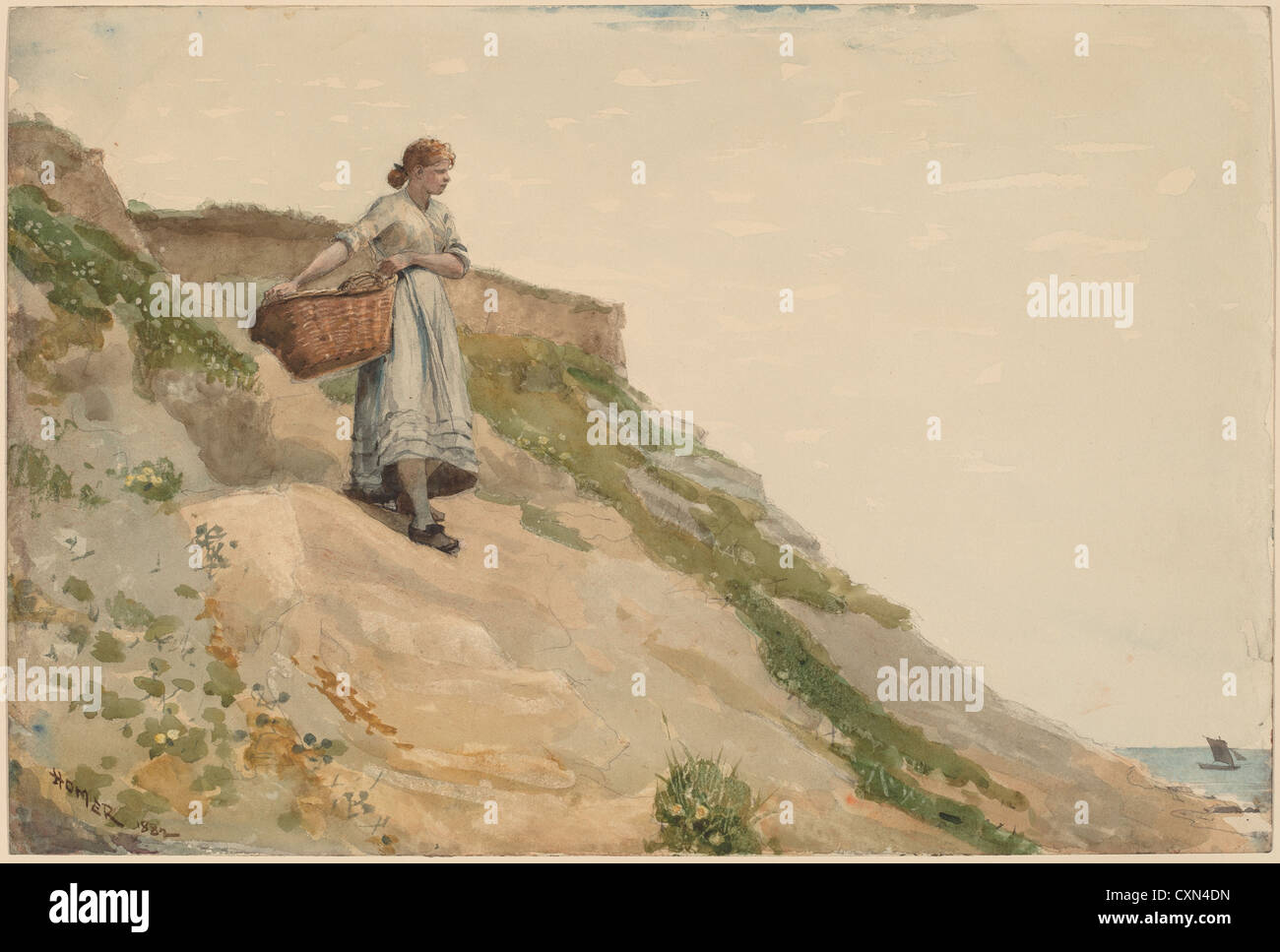Winslow Homer, Girl Carrying a Basket, American, 1836 - 1910, 1882, watercolor over graphite - Stock Image