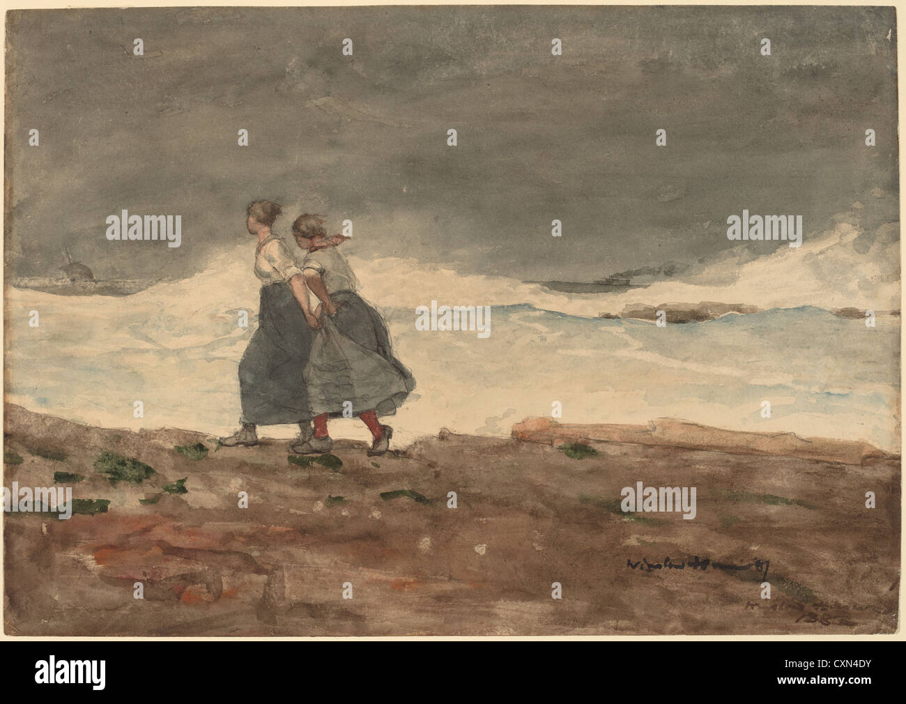 Winslow Homer, Danger, American, 1836 - 1910, 1883 and 1887, watercolor and gouache over graphite - Stock Image