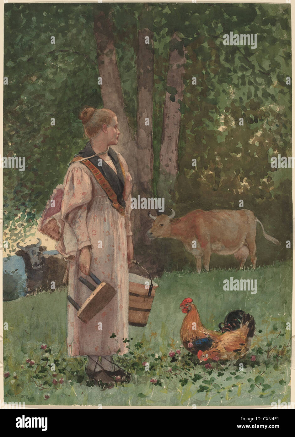 Winslow Homer (American, 1836 - 1910 ), The Milk Maid, 1878, watercolor over graphite - Stock Image