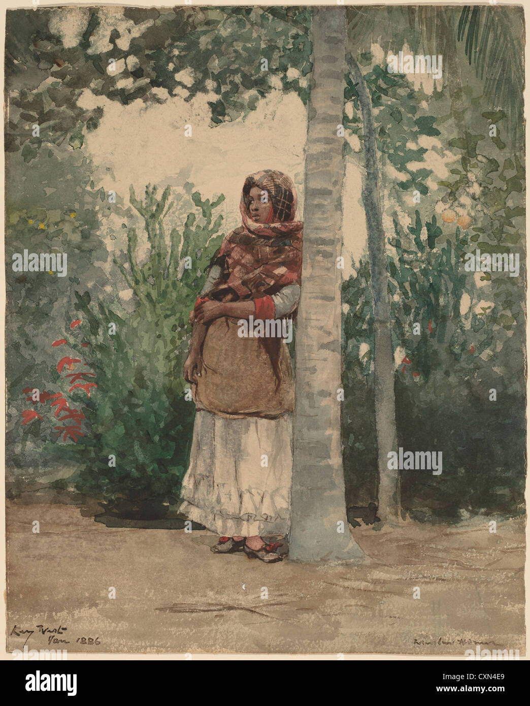 Winslow Homer (American, 1836 - 1910 ), Under a Palm Tree, 1886, watercolor - Stock Image