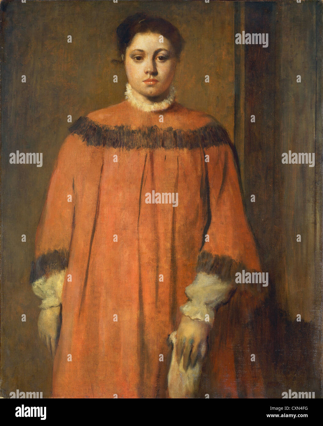 Edgar Degas, Girl in Red, French, 1834 - 1917, c. 1866, oil on canvas - Stock Image
