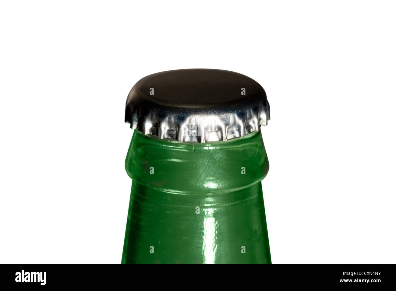 Cut Out. Green glass bottle with a silver bottle cap on white background Stock Photo