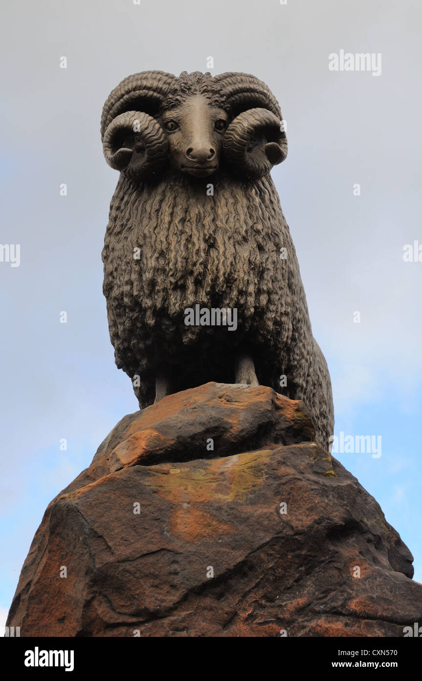 The famous Moffat ram Scottish borders - Stock Image