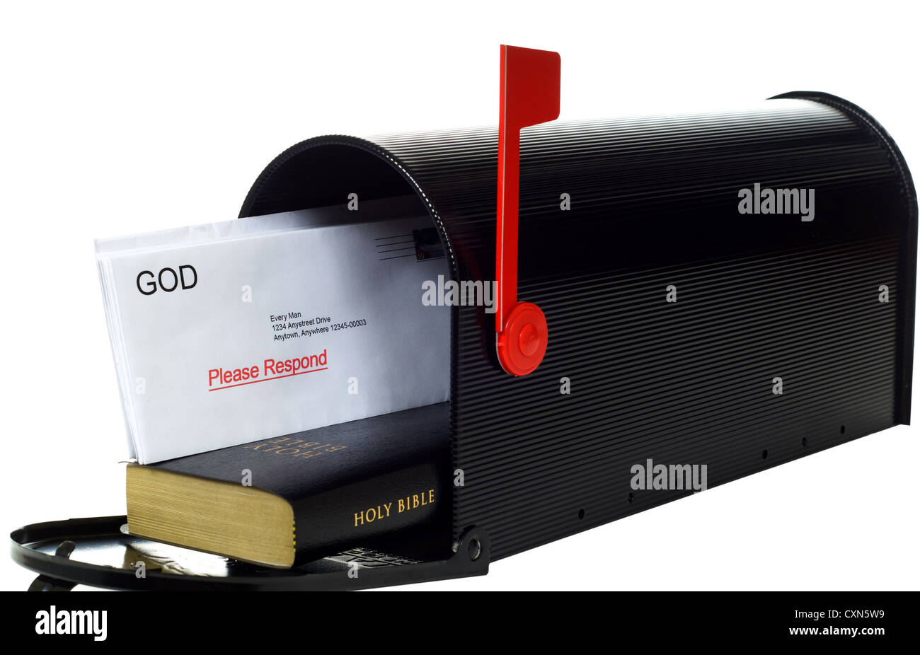 Black mailbox with Bible and a letter from God showing Stock