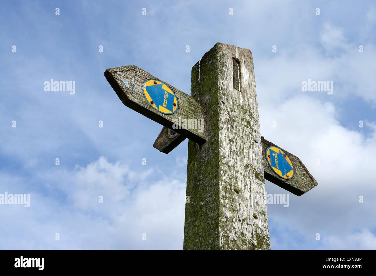 Bridleway fingerpost - Stock Image