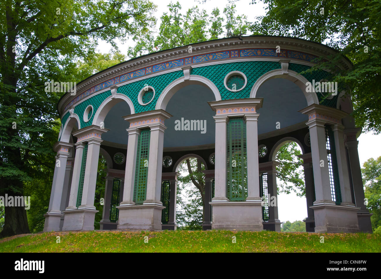 Ekotemplet the Echo temple (1790) outdoor dining area Hagaparken the Haga Park in Solna district Stockholm Sweden - Stock Image